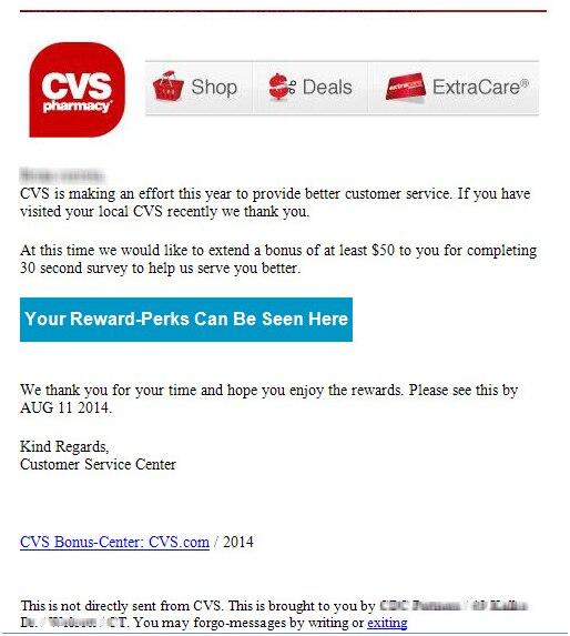 Fraudulent email. CVS Card Bonus Offer