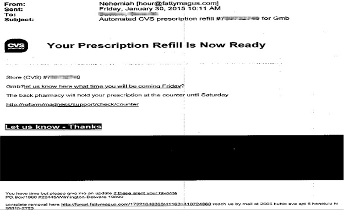 Fraudulent email. CVS prescription refill #