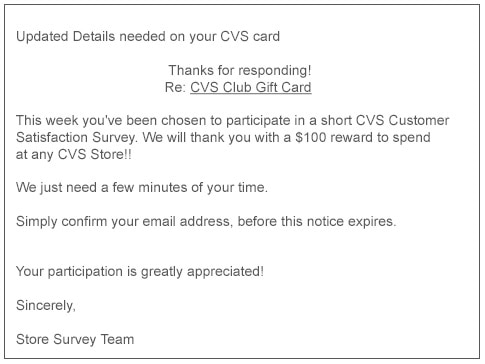 Fraudulent email. CVS club gift card email offer