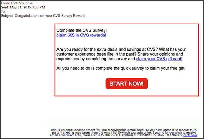 Fraudulent email. CVS Survey Rewards