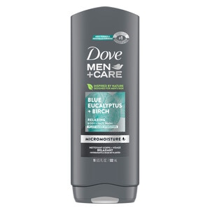 Dove Men+Care Blue Eucalyptus and Birch Men's Dry Skin Body Wash with Micromoisture, 18 OZ
