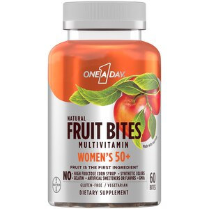 One A Day Women�s 50+ Natural Fruit Bites Multivitamin with Immune Health Support*, 60 Count (1 month supply), Gluten Free Vitamins for Women with Vitamin A, Vitamin D, Vitamin E, B6, B12, Biotin & more