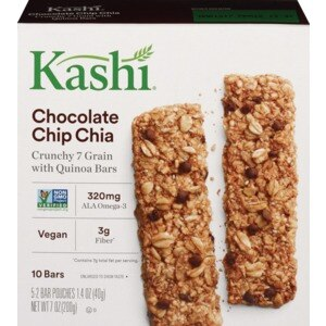 Kashi Crunchy Quinoa Bars Chocolate Chip Chia, 1.4 OZ, 2CT, 5/Pack