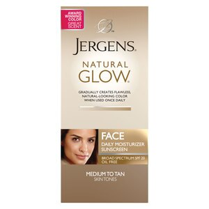 Jergens Natural Glow Face Daily Moisturizer Sunscreen SPF 20, Medium to Tan Skin Tones