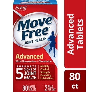 Move Free Triple Strength Glucosamine Chondroitin and Hyaluronic Acid Joint Supplement, 80CT
