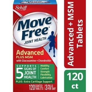 Move Free Glucosamine Chondroitin MSM and Hyaluronic Acid Joint Supplement, 120CT