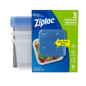 Ziploc Containers with One Press Seal, Medium Square, 3 CT
