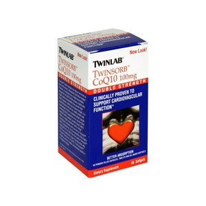 TwinLab Twinsorb CoQ10 Double Strength Softgels, 100mgs