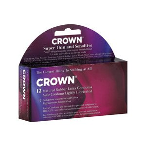 Crown Natural Rubber Latex Male Condoms Lightly Lubricated