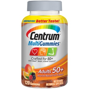 Centrum MultiGummies Gummy Multivitamin for Adults 50 Plus, Multivitamin/Multimineral Supplement with Calcium, Zinc and Vitamins B and D, Assorted Fruit Flavor - 120 Count