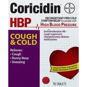 Coricidin HBP Cough and Cold Relief Tablets, 16CT