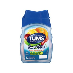 TUMS Antacid Chewable Tablets, Smoothies Berry Fusion for Heartburn Relief, 60 CT