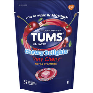 TUMS Antacid, Chewy Delights Ultra Strength Soft Chews for Heartburn Relief, 32 CT