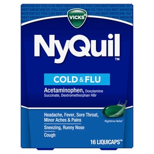Vicks NyQuil Cold & Flu Nighttime Relief LiquiCaps 24 Count, 24/Pack