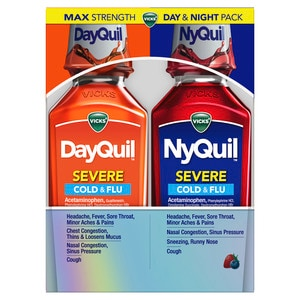 Vicks DayQuil and NyQuil Severe Cold & Flu Nighttime Relief Liquid, 24 OZ