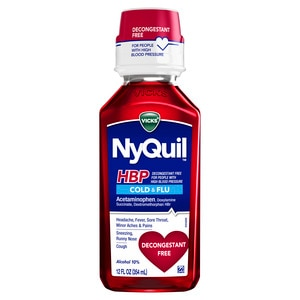Vicks NyQuil HBP Cherry Flavor Cold & Flu Liquid, 12.0 OZ