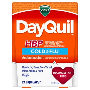 Vicks DayQuil HBP Non-Drowsy Cold & Flu LiquiCaps, 24/Pack