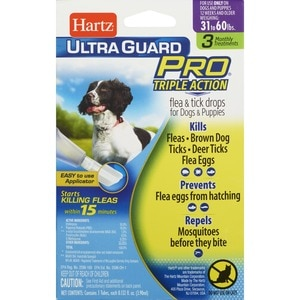 Hartz Flea & Tick Drops for Dogs and Puppies Weighing 31-60 Pounds