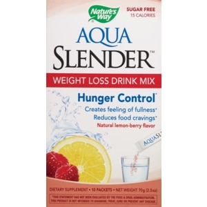Nature's Way Aqua Slender Hunger Control Drink Mix Natural Lemon-berry Packets