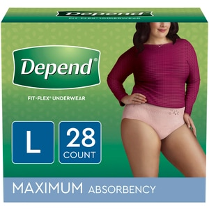 Depend FIT-FLEX Incontinence Underwear for Women, Maximum Absorbency, L, Blush, 28 Count