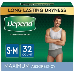 Depend FIT-FLEX Incontinence Underwear for Men, Maximum Absorbency, S/M