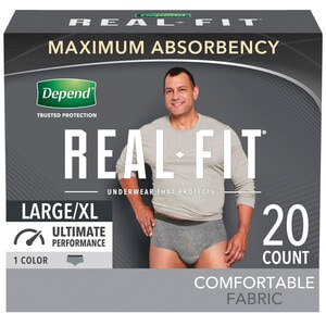 Depend  Real Fit Incontinence Underwear for Men Maximum Absorbancy Large/Xlarge