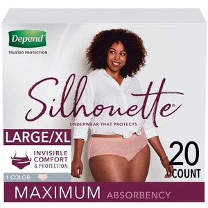 Depend Silhouette Incontinence Underwear for Women, Maximum Absorbency, L/XL, Pink, 20 Count