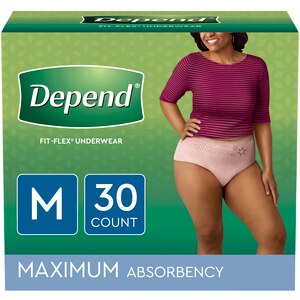Depend FIT-FLEX Incontinence Underwear for Women, Maximum Absorbency, M, Blush