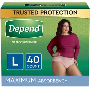 Depend FIT-FLEX Incontinence Underwear for Women, Maximum Absorbency, L, Blush, 40 Count