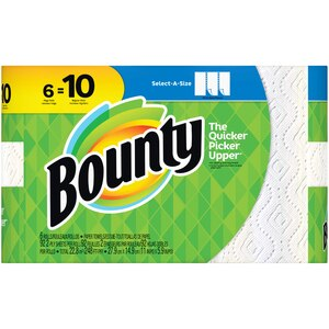 Bounty Select-A-Size Super Roll White Paper Towels, 6/Pack