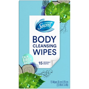 Secret Cleansing Wipes Cool Waterlily Scent, 15/Pack
