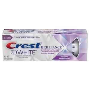 Crest 3D White Brilliance Teeth Whitening Toothpaste Vibrant Peppermint, 4.1 OZ