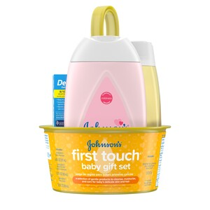 Johnson's First Touch Gift Set, Baby Bath & Skin Products, 5 Items