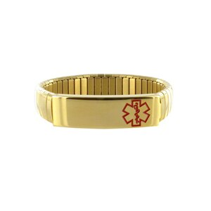American Medical ID Bracelet Goldtone Men Expansion Band 8