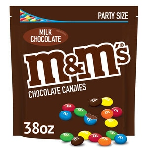 M&M'S Milk Chocolate Candy Party Size Bag, 38 OZ