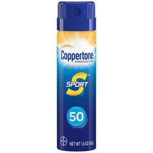 Coppertone Sport Trial Travel Sunscreen Continuous Spray, SPF 50, 1.6 OZ