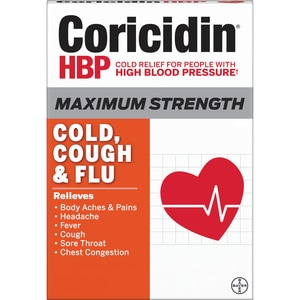 Coricidin HBP, Maximum Strength Cold, Cough & Flu Liquid Gels, 24 CT