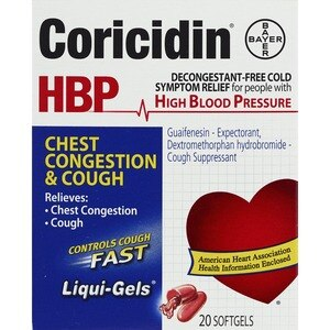 Coricidin HBP Chest Congestion and Cough Liqui-Gels Cold Relief Softgels, 20CT