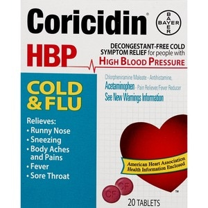 Coricidin HBP Cold and Flu Cold Relief Tablets, 20CT