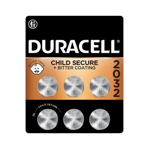 Duracell 2032 3V Lithium Coin Battery with Bitter Coating, 6/PK