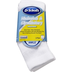 Dr. Scholl's Diabetes & Circulatory Ankle Health Socks White Large