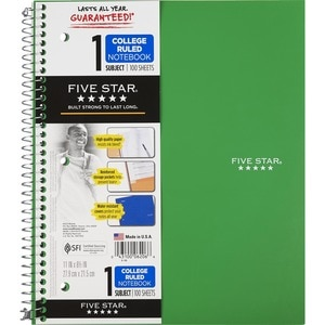 Mead Five Star - 1 Subject Notebook, College Ruled, 100 Sheets