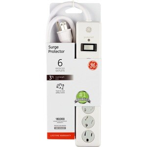 GE Standard 6-Outlet Surge Protector, White