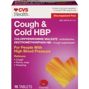 CVS Health Cough & Cold HBP Tablets, 16CT