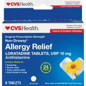 CVS Health Allergy Relief Non-Drowsy Loratadine Tablets, 10CT