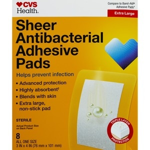 CVS Health Anti-Bacterial Extra Large Adhesive Pads 3 x 4 inches