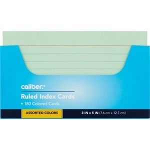 Caliber Ruled Index Cards Assorted Colors