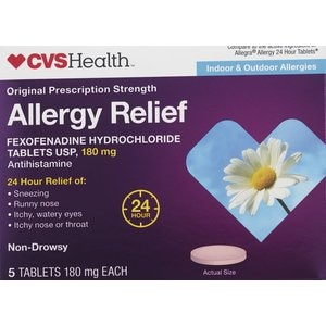 CVS Health Allergy Relief Non-Drowsy Fexofenadine Tablets, 90CT