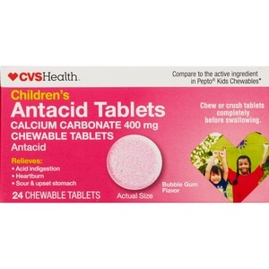 CVS Children's Chewable Antacid Tablets Bubble Gum Glavor