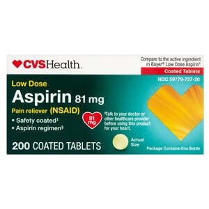 CVS Health Low Dose Aspirin Enteric Coated Tablets 81mg